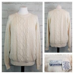 Vintage M/L (Men's S) Beige Cable Knit Sweater